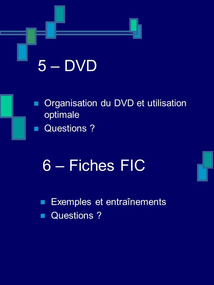 5 – DVD 6 – Fiches FIC Organisation du DVD et utilisation optimale
