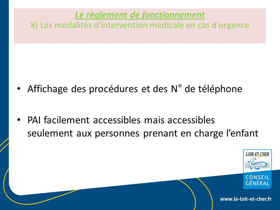 Affichage des procédures et des N° de téléphone