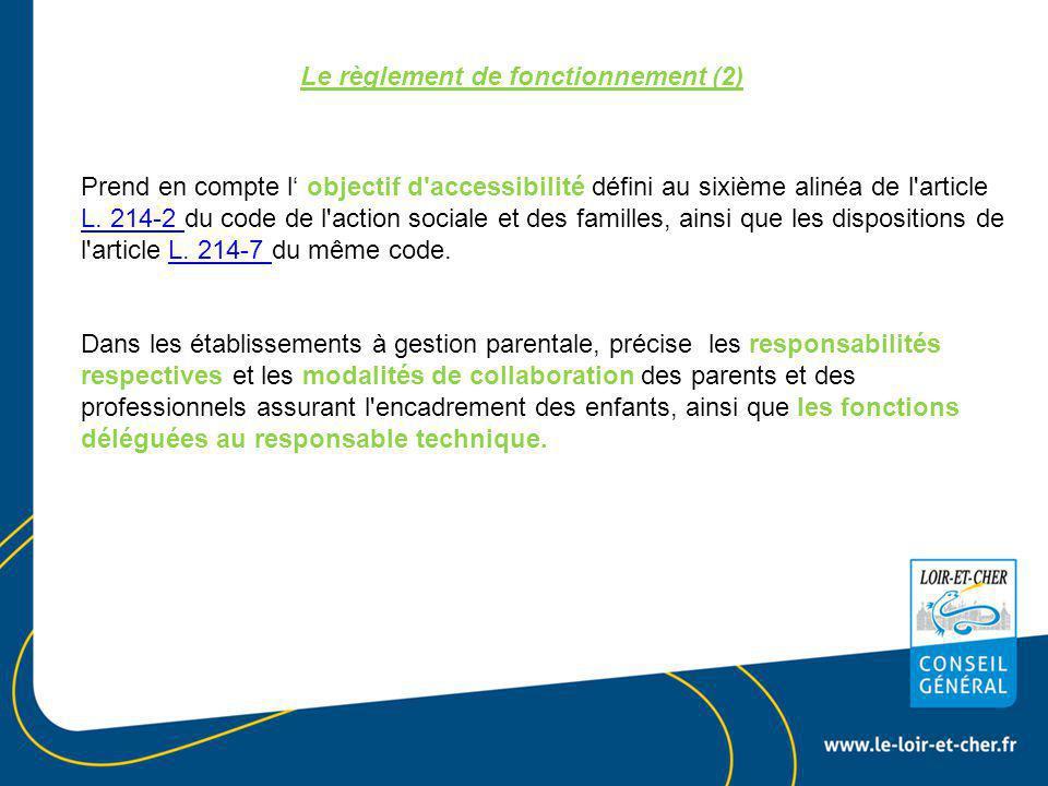 Le règlement de fonctionnement (2)