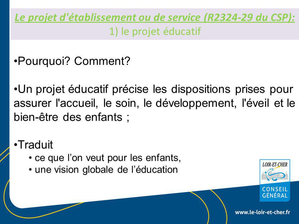 Le projet d établissement ou de service (R2324-29 du CSP): 1) le projet éducatif