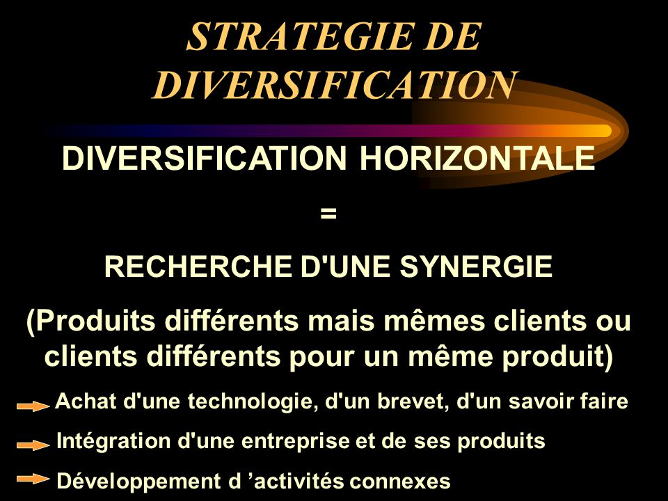 STRATEGIE DE DIVERSIFICATION