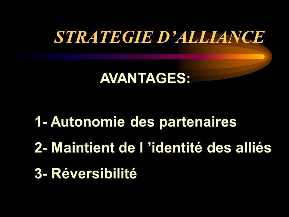 STRATEGIE D'ALLIANCE AVANTAGES: 1- Autonomie des partenaires