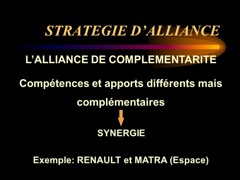 STRATEGIE D'ALLIANCE L'ALLIANCE DE COMPLEMENTARITE