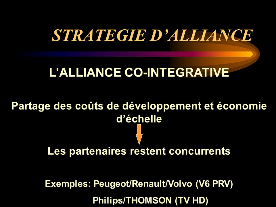STRATEGIE D'ALLIANCE L'ALLIANCE CO-INTEGRATIVE