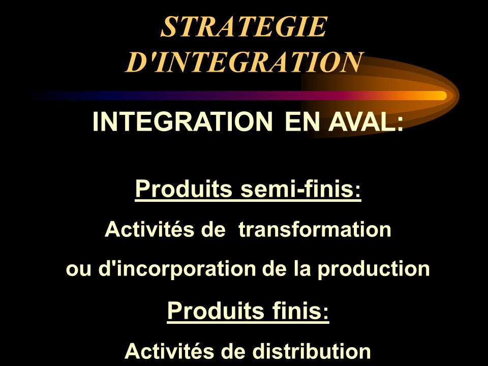 STRATEGIE D INTEGRATION