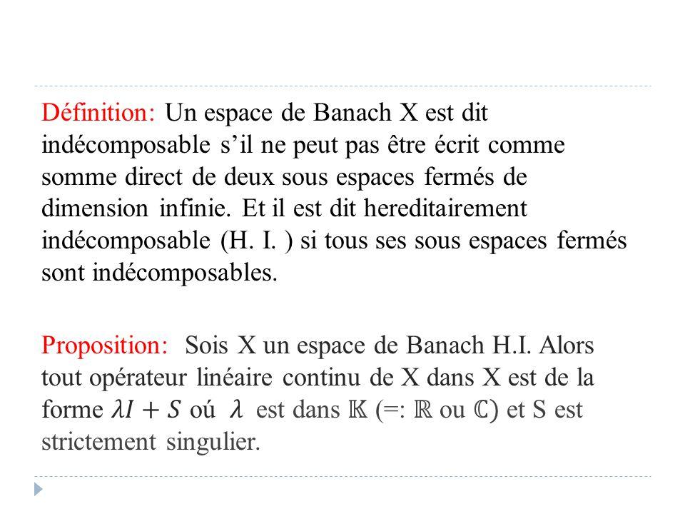 Définition: Un espace de Banach X est dit indécomposable s'il ne peut pas être écrit comme somme direct de deux sous espaces fermés de dimension infinie.