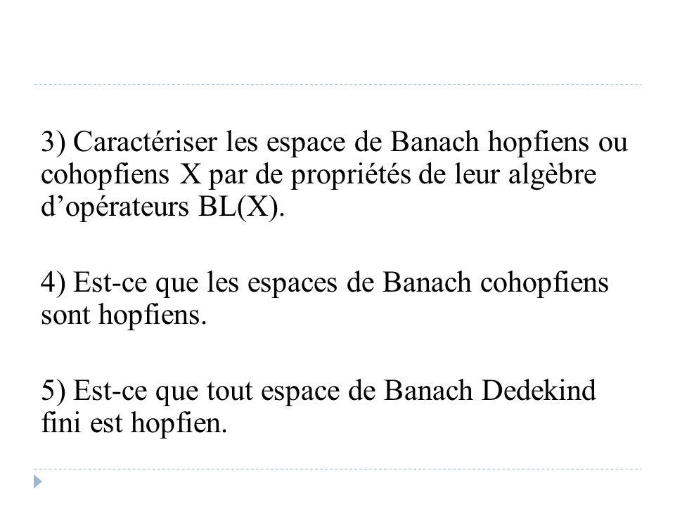 3) Caractériser les espace de Banach hopfiens ou cohopfiens X par de propriétés de leur algèbre d'opérateurs BL(X).
