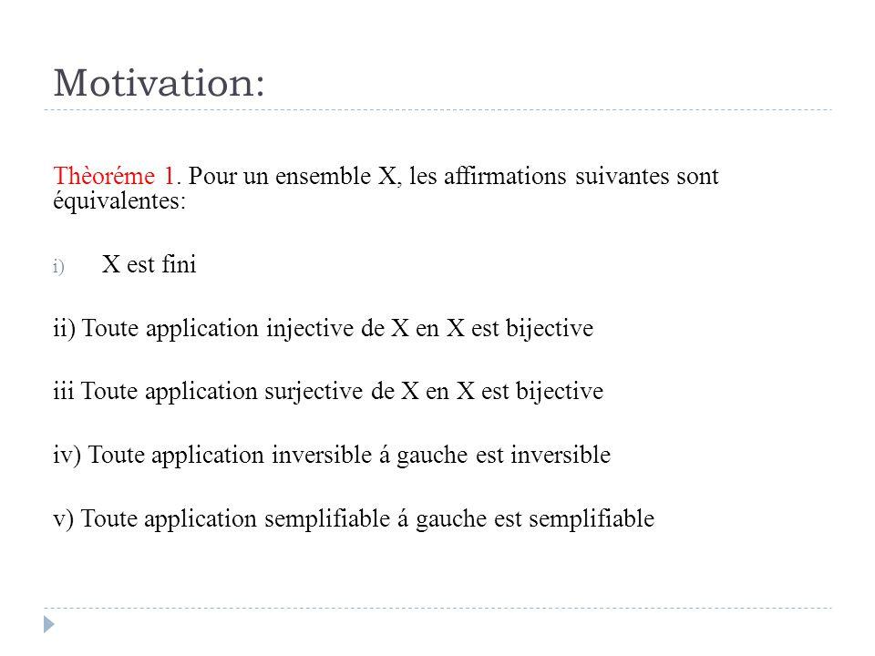 Motivation: Thèoréme 1. Pour un ensemble X, les affirmations suivantes sont équivalentes: X est fini.