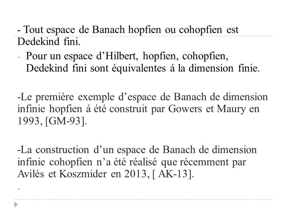 - Tout espace de Banach hopfien ou cohopfien est Dedekind fini.