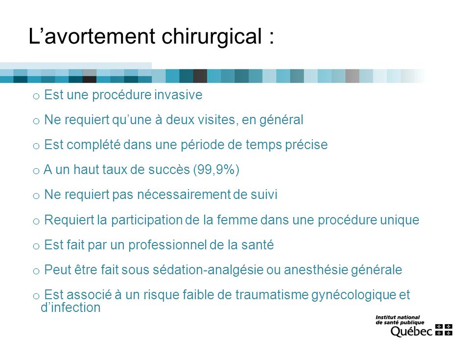 L'avortement chirurgical :