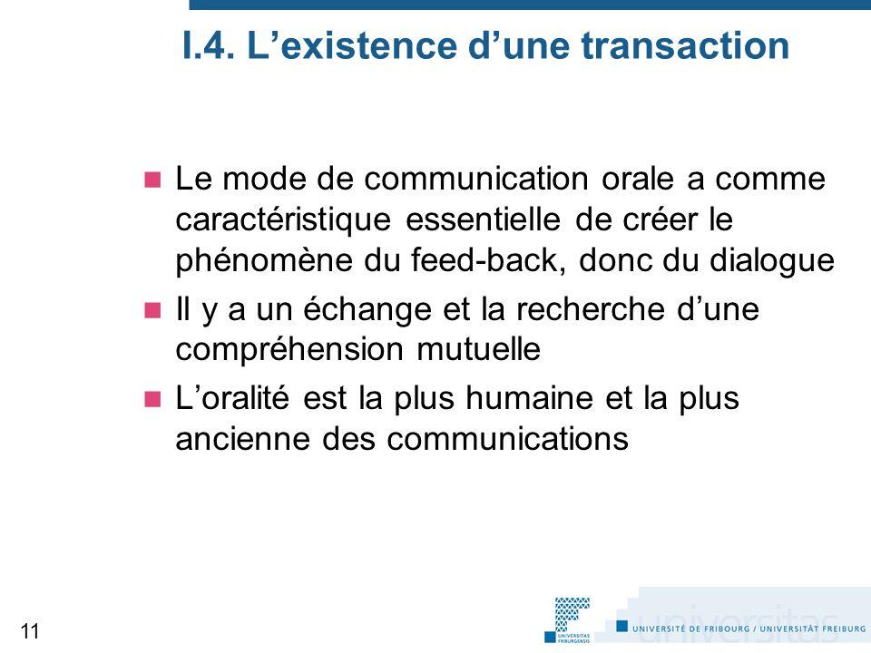 I.4. L'existence d'une transaction
