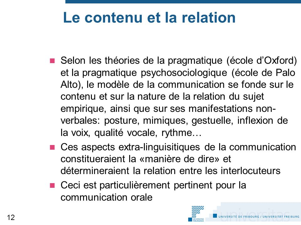 Le contenu et la relation