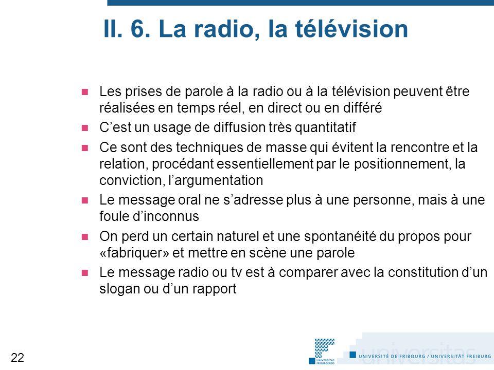 II. 6. La radio, la télévision