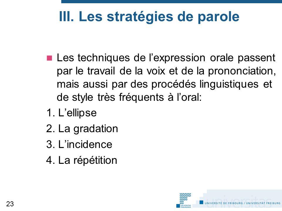 III. Les stratégies de parole