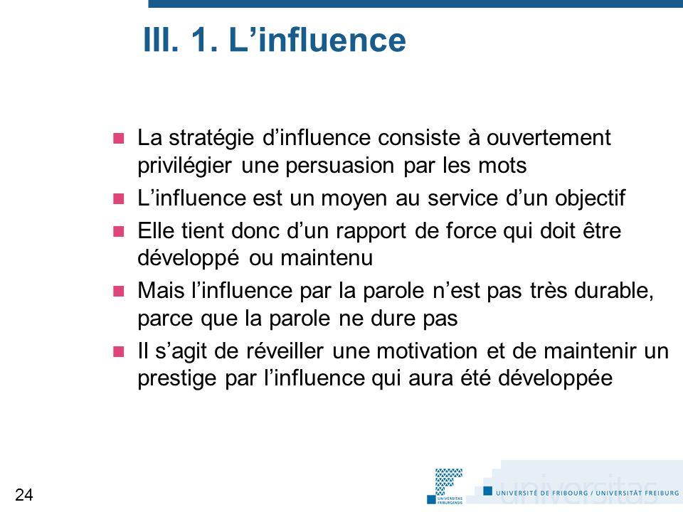 III. 1. L'influence La stratégie d'influence consiste à ouvertement privilégier une persuasion par les mots.
