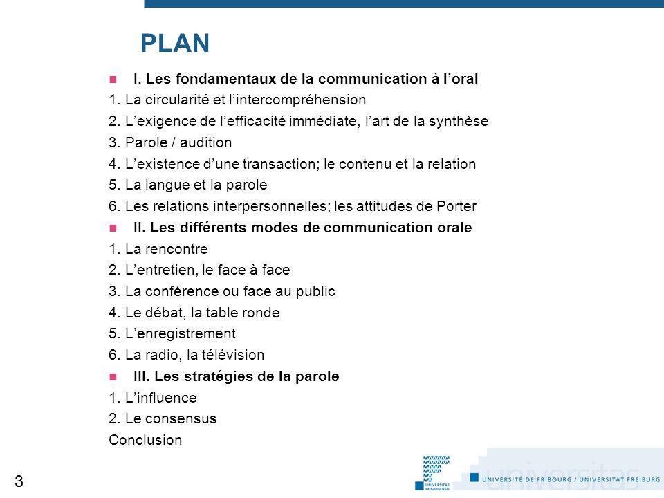 PLAN I. Les fondamentaux de la communication à l'oral