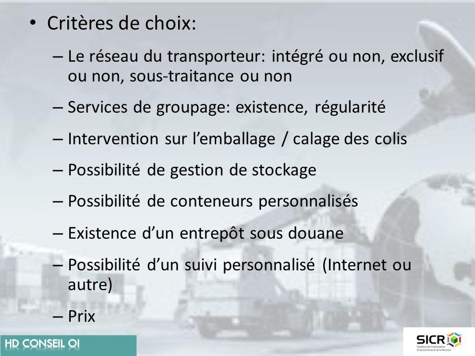Critères de choix: Le réseau du transporteur: intégré ou non, exclusif ou non, sous-traitance ou non.