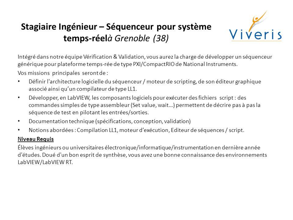 Stagiaire Ingénieur – Séquenceur pour système temps-réelà Grenoble (38)
