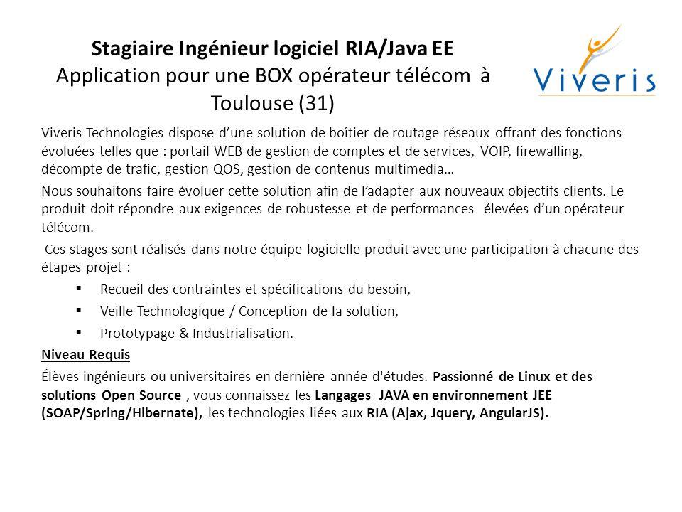 Stagiaire Ingénieur logiciel RIA/Java EE Application pour une BOX opérateur télécom à Toulouse (31)