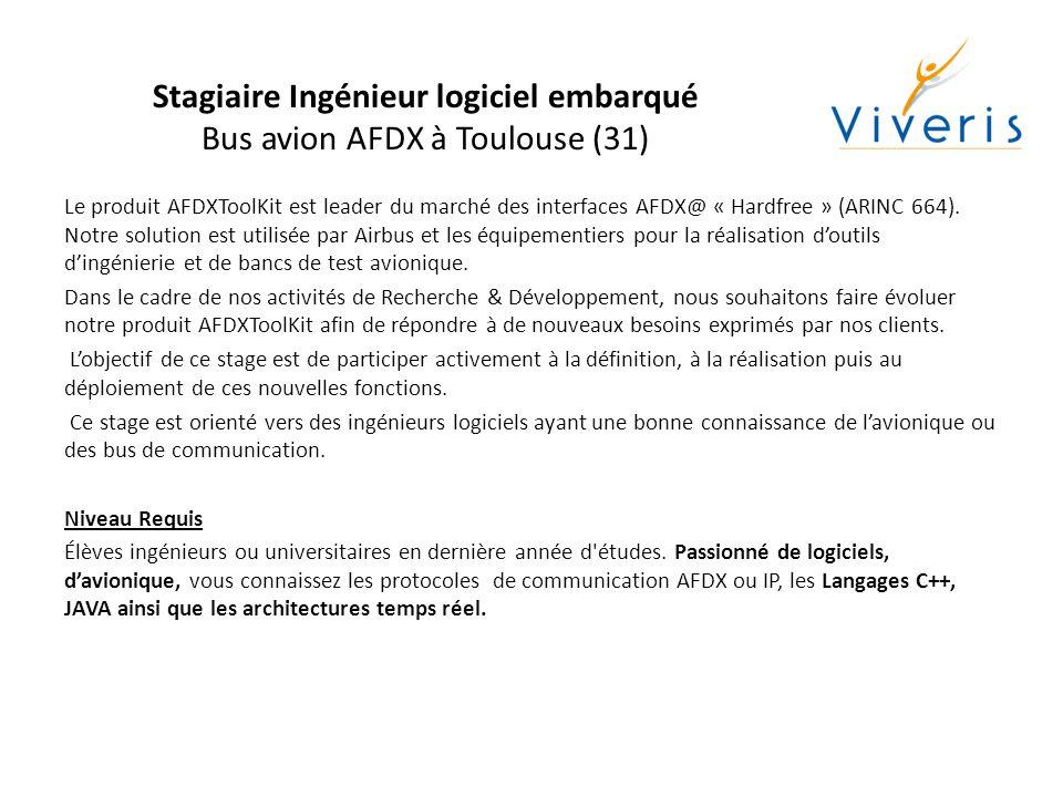 Stagiaire Ingénieur logiciel embarqué Bus avion AFDX à Toulouse (31)