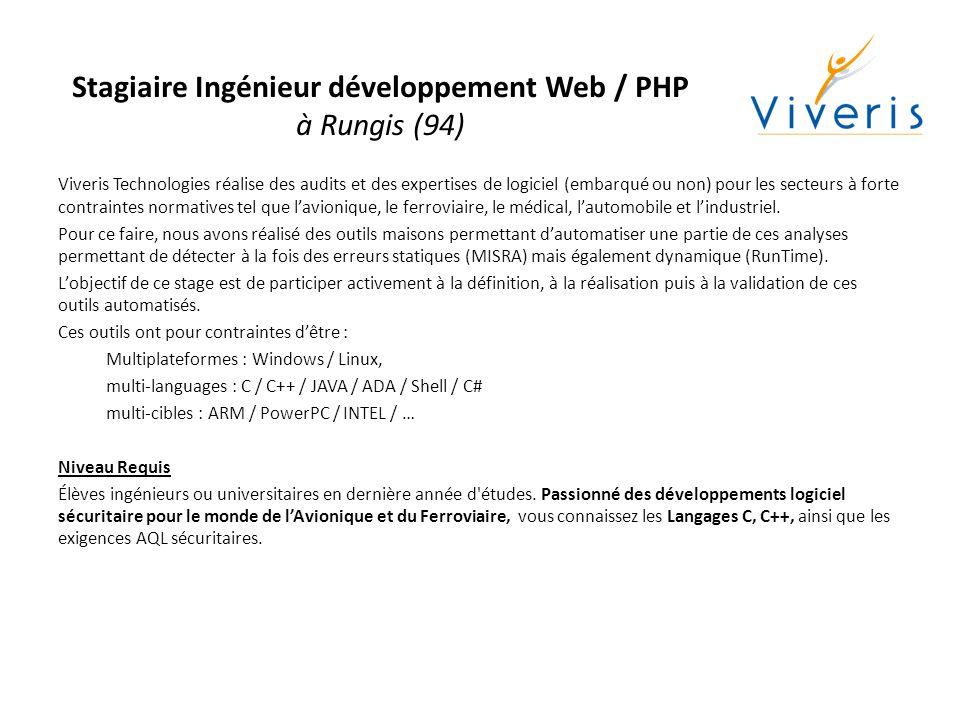Stagiaire Ingénieur développement Web / PHP à Rungis (94)