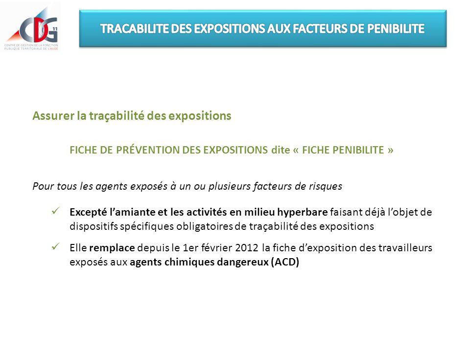 TRACABILITE DES EXPOSITIONS AUX FACTEURS DE PENIBILITE