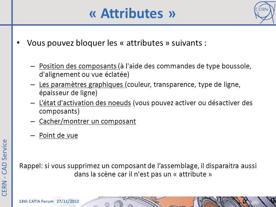 « Attributes » Vous pouvez bloquer les « attributes » suivants :