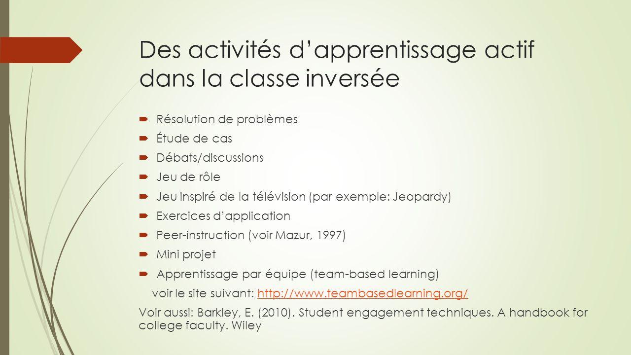Des activités d'apprentissage actif dans la classe inversée