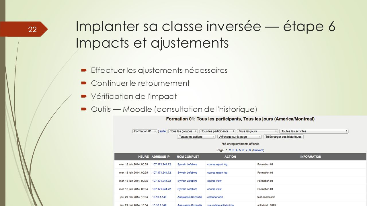 Implanter sa classe inversée — étape 6 Impacts et ajustements
