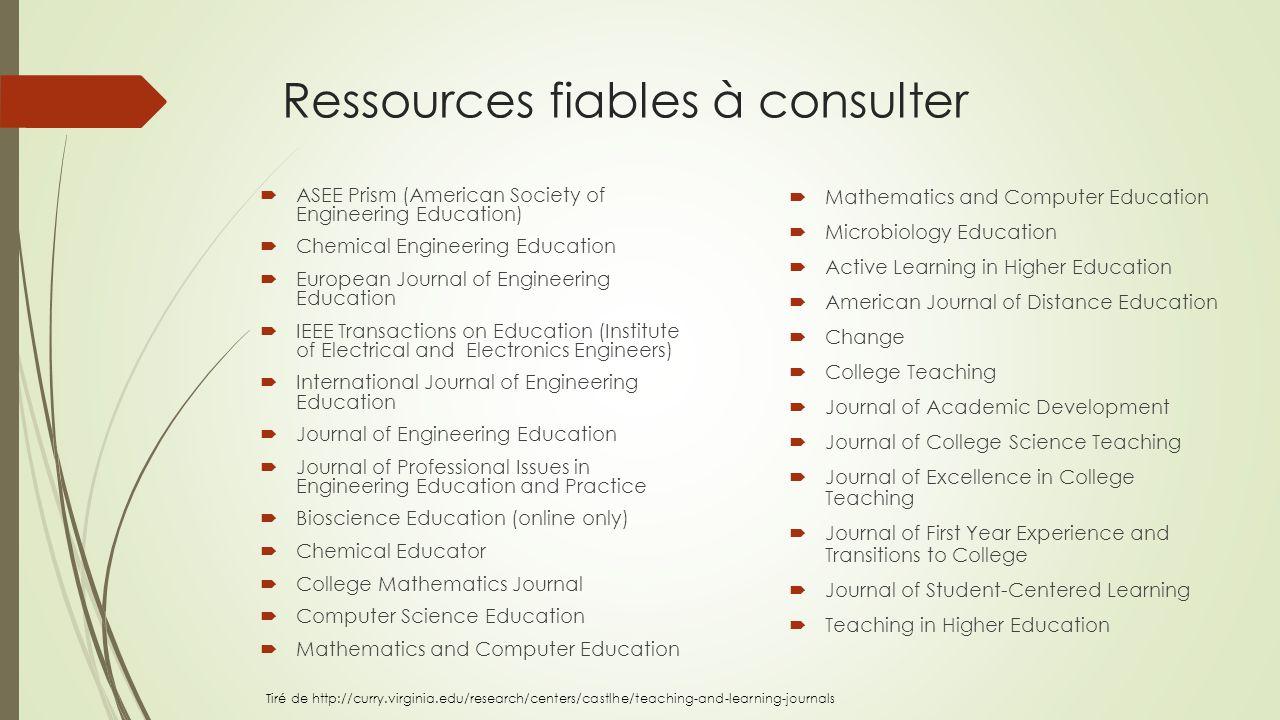 Ressources fiables à consulter