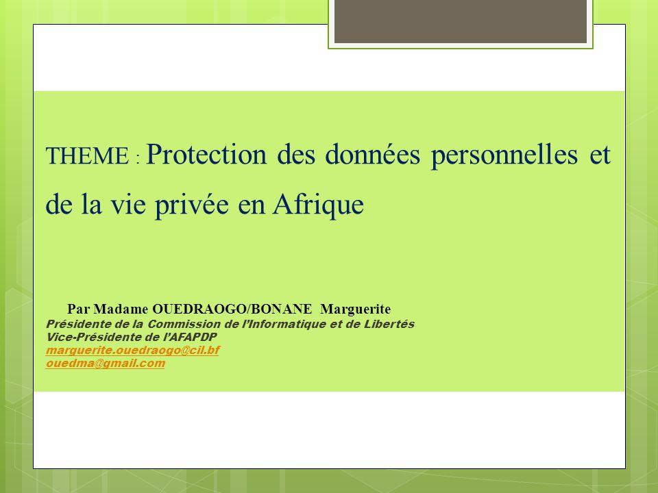 THEME : Protection des données personnelles et de la vie privée en Afrique