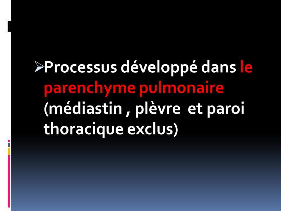 Processus développé dans le parenchyme pulmonaire (médiastin , plèvre et paroi thoracique exclus)
