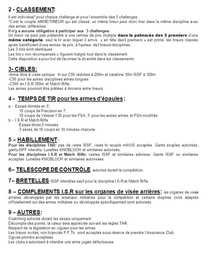 4 - TEMPS DE TIR pour les armes d'épaules :