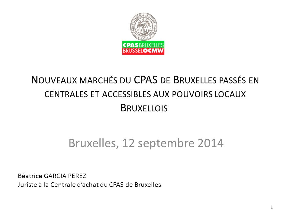 Bruxelles, 12 septembre 2014 Béatrice GARCIA PEREZ
