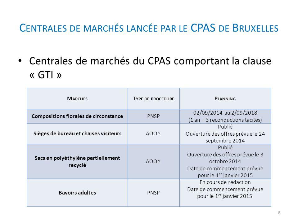 Centrales de marchés lancée par le CPAS de Bruxelles