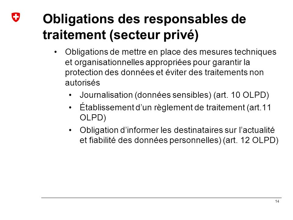 Obligations des responsables de traitement (secteur privé)