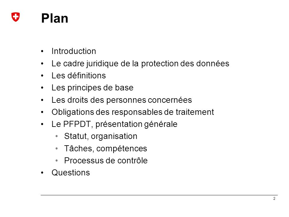 Plan Introduction Le cadre juridique de la protection des données