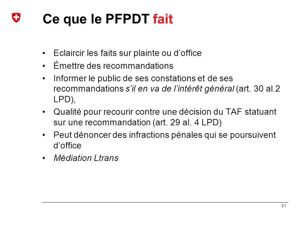 Ce que le PFPDT fait Eclaircir les faits sur plainte ou d'office