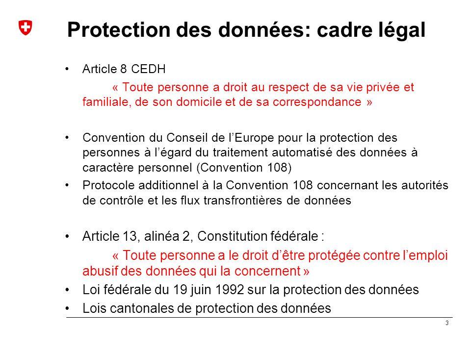Protection des données: cadre légal