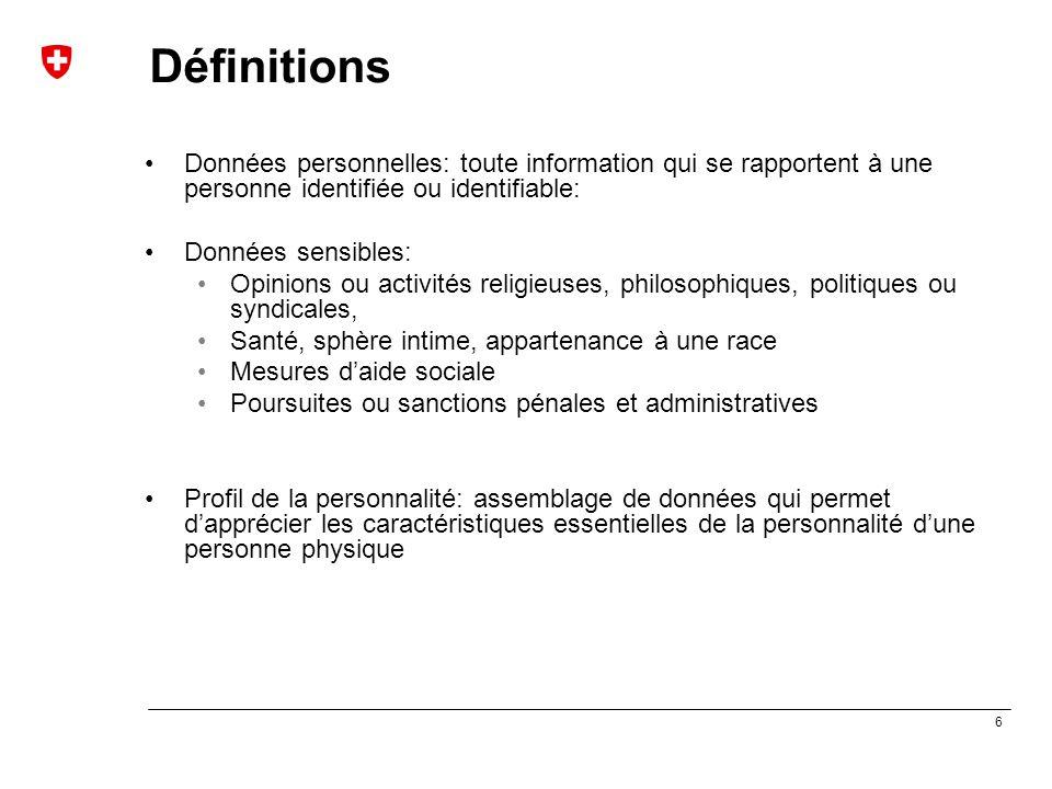 Définitions Données personnelles: toute information qui se rapportent à une personne identifiée ou identifiable: