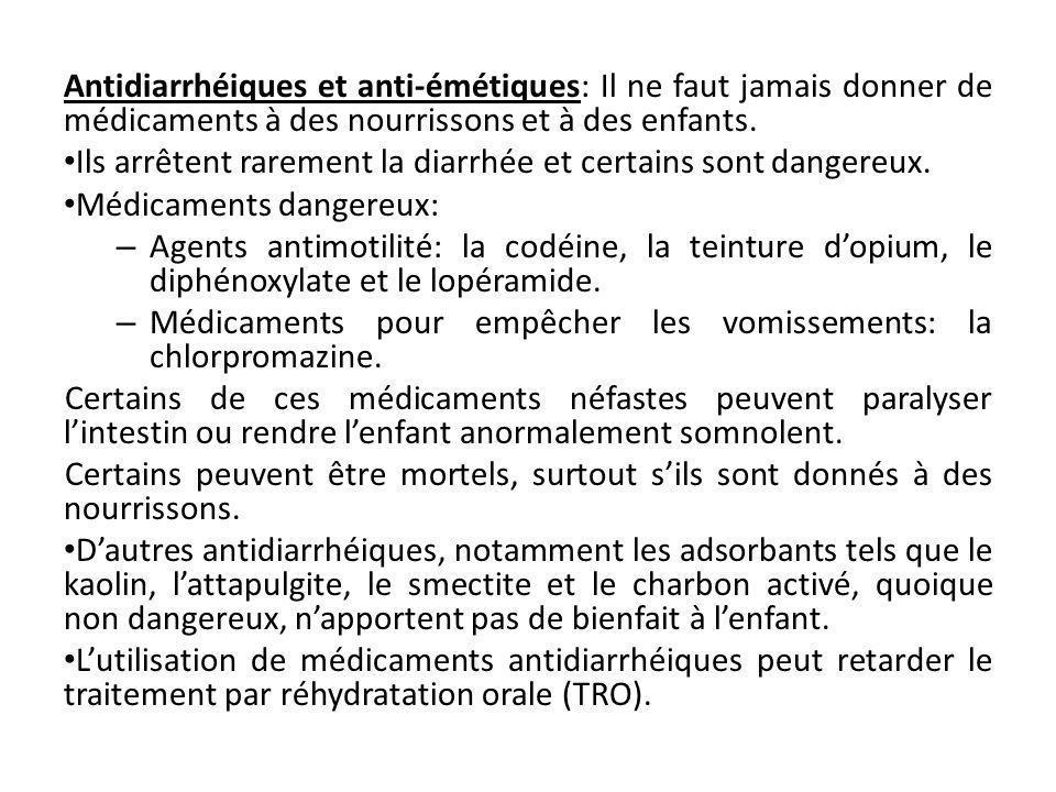 Antidiarrhéiques et anti-émétiques: Il ne faut jamais donner de médicaments à des nourrissons et à des enfants.