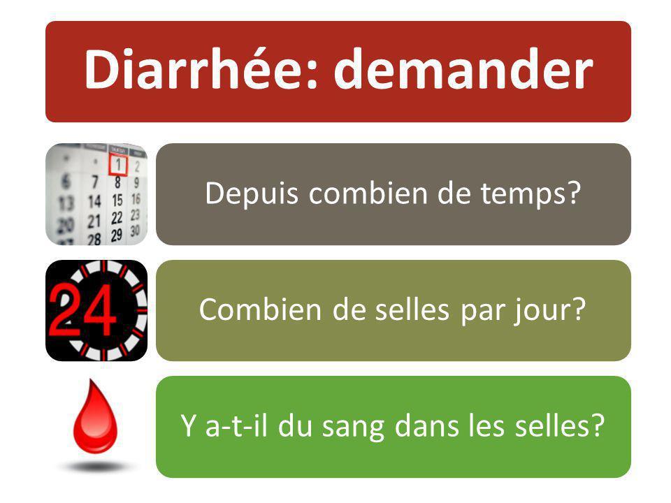 Diarrhée: demander Depuis combien de temps