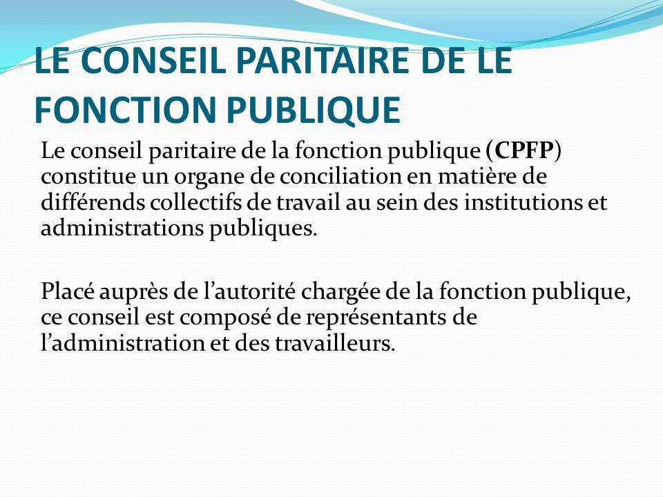 LE CONSEIL PARITAIRE DE LE FONCTION PUBLIQUE