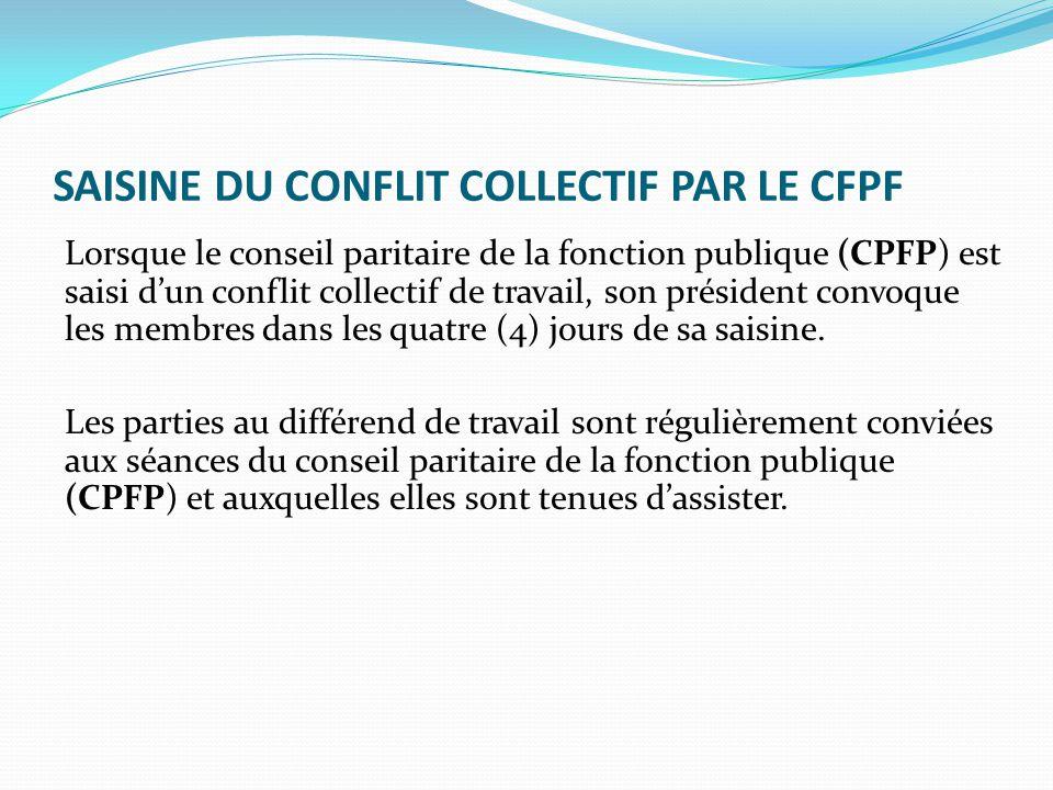SAISINE DU CONFLIT COLLECTIF PAR LE CFPF