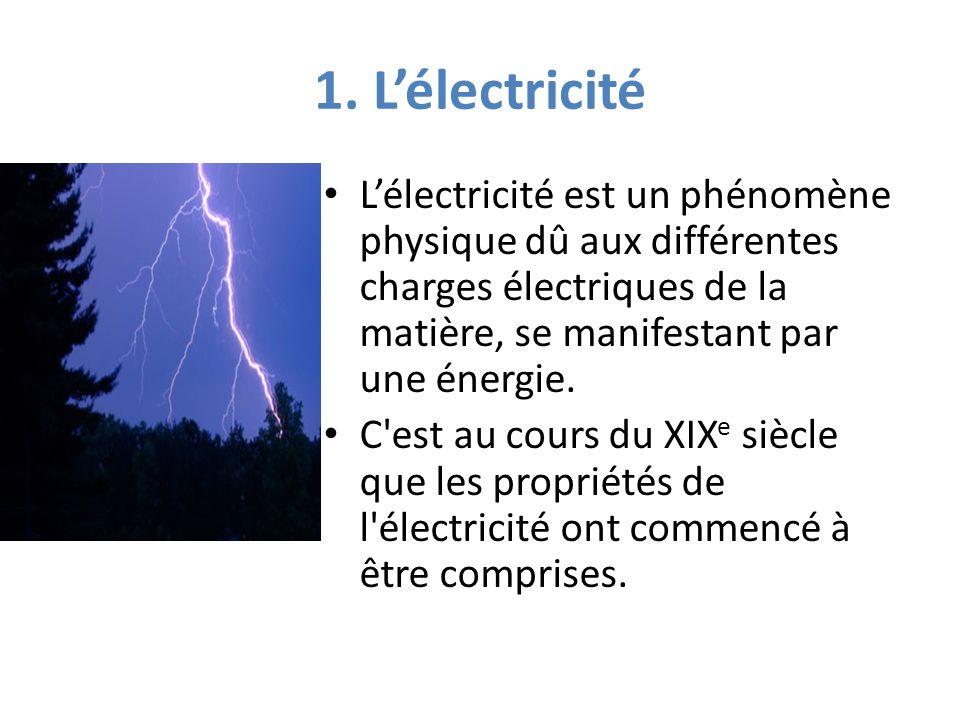 1. L'électricité L'électricité est un phénomène physique dû aux différentes charges électriques de la matière, se manifestant par une énergie.