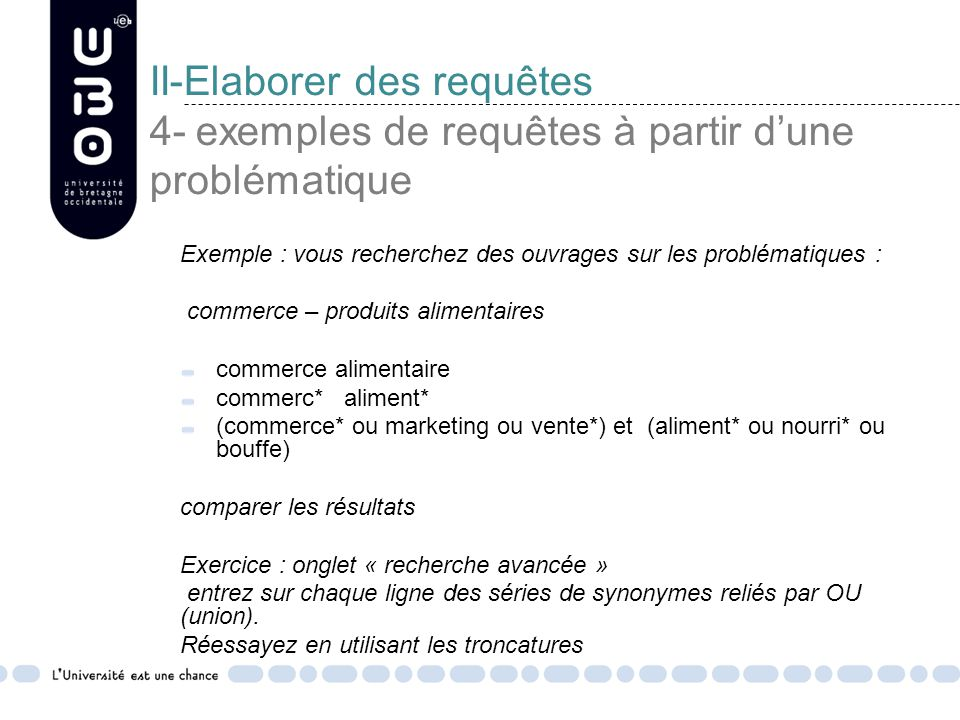 II-Elaborer des requêtes 4- exemples de requêtes à partir d'une problématique