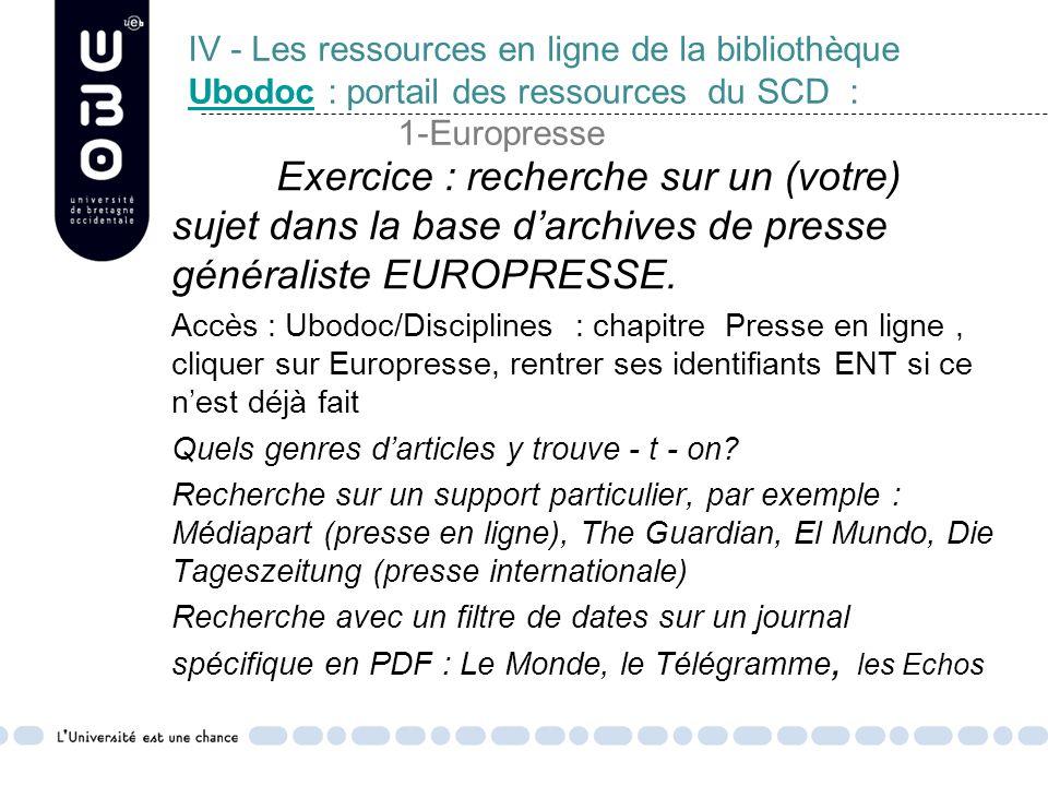 IV - Les ressources en ligne de la bibliothèque Ubodoc : portail des ressources du SCD : 1-Europresse