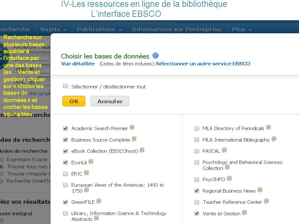 IV-Les ressources en ligne de la bibliothèque L'interface EBSCO