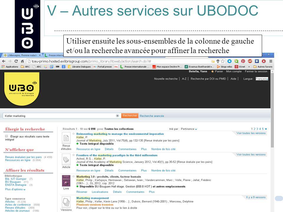 V – Autres services sur UBODOC