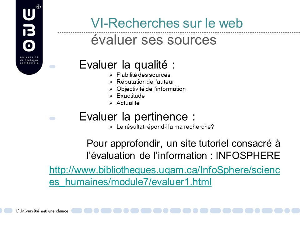 VI-Recherches sur le web évaluer ses sources